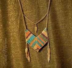 Chevron necklace American indian & ethnic macrame chains and