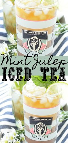 Mint Julep Iced Tea can be made with bourbon or without so that everyone can enjoy this minty and refreshing beverage whether watching the Kentucky Derby or simply enjoying an afternoon of sunshine and socializing. Iced Tea Recipes, Drinks Alcohol Recipes, Yummy Drinks, Cocktail Recipes, Drink Recipes, Crockpot Recipes, Chicken Recipes, Dinner Recipes, Alcoholic Iced Tea