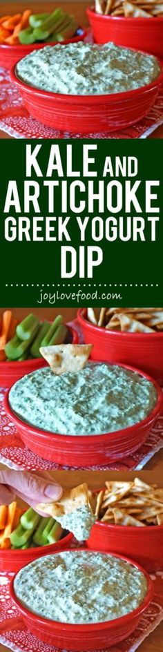 Kale and Artichoke Greek Yogurt Dip - creamy, delicious and full of flavor, this protein-rich dip is also low in calories and fat free.  It is great for a party or healthy snacking anytime, also makes a wonderful sauce or sandwich spread.