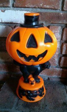 Vintage Halloween Blow Mold Cat Witch Pumpkin Plastic Decoration   eBay