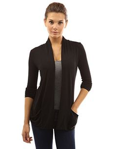 PattyBoutik Womens Open Front Pockets Cardigan Black M *** Want to know more, click on the image.