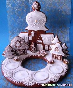 Christmas Gingerbread House, Christmas Candle, Gingerbread Cookies, Christmas Cookies, Christmas Crafts, Xmas, Hungarian Cookies, Cookie House, Fancy Cookies