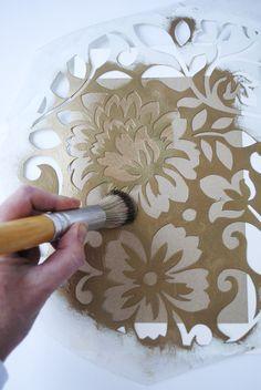 Stencil notebooks for presents! Leaf Stencil, Mandala Stencils, Stencil Diy, Stencil Designs, Paint Designs, Pottery Painting Designs, Pottery Designs, Wall Painting Decor, Stencil Painting