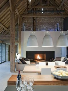 I Love Unique Home Architecture. Simply stunning architecture engineering full of charisma nature love. The works of architecture shows the harmony within. Interior Exterior, Interior Architecture, Interior Design, Room Interior, Living Room Designs, Living Spaces, Living Area, Barn Living, Loft Living Rooms