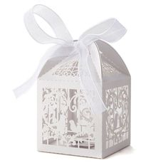 Sealike 50 Pcs Love Heart Birds Laser Hollow Out Candy Box Bomboniere with Ribbons Bridal Shower Wedding Party Favors White -- You can find more details by visiting the image link.