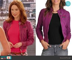 Kimmy's purple jacket on Unbreakable Kimmy Schmidt.  Outfit Details: https://wornontv.net/57215/ #UnbreakableKimmySchmidt