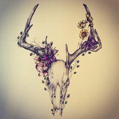 deer skull flower art - Google 搜尋