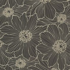 Dark florals are statement making. The black sections of this modern floral print are raised, giving the glittering taupe design an inverse look. Vivienne is an unpasted, non woven wallpaper.