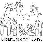 Clipart Black And White Stick Drawings Of Nativity Scene People Royalty Free Vector Illustration by C Charley-Franzwa