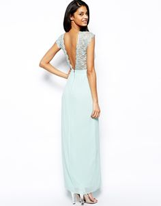 Image 1 of Elise Ryan Maxi Dress with Lace Scallop Back