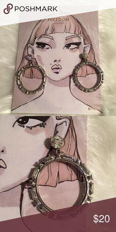 TopShop Drop Earrings Silver look oversized drop earrings with swirl detailing. Drop length 1.8in. By Freedom at Topshop. 100% Metal. Topshop Jewelry Earrings