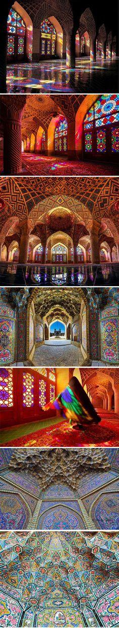 Detalhes da Mesquita Nasīr al-Mulk (Mesquita Rosa), em Shiraz, província de Fars, Irã.  Fotografia: David Wong.