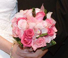 bouquet design by Lana with FairbanksFlorist.net, unique element pink skeleton leaves!