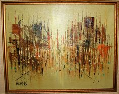 Abstract art oil painting signed by artist Alans by BayAntiques