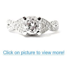 Antique Infinity Style Platinum Plated Cubic Zirconia CZ Promise Engagement Ring for Women #Antique #Infinity #Style #Platinum #Plated #Cubic #Zirconia #CZ #Promise #Engagement #Ring #Women