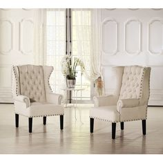 Baxton Studio Patterson Wingback Beige Linen And Burlap Nailhead... ($512) ❤ liked on Polyvore featuring home, furniture, chairs, accent chairs, beige, cream chair, beige tufted chair, wingback chair, linen chair and wing back chair