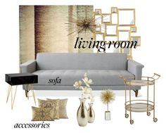 """Art Deco & Modern Living Room"" by designismymuse ❤ liked on Polyvore featuring interior, interiors, interior design, home, home decor, interior decorating, Gus* Modern, Worlds Away, Pier 1 Imports and living room"
