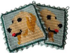Golden Retriever Pot Holders.  Thick crochet potholder by hooknsaw, $19.00