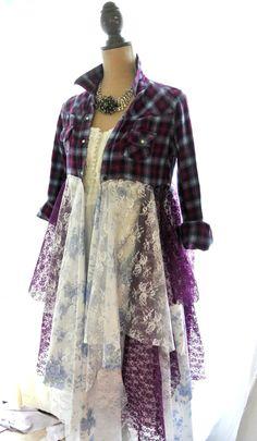 Flannel jacket, Gypsy vagabond coat, bohemian duster, boho, plaid lace lagenlook, Tartan punk, romantic Victorian, true rebel clothing