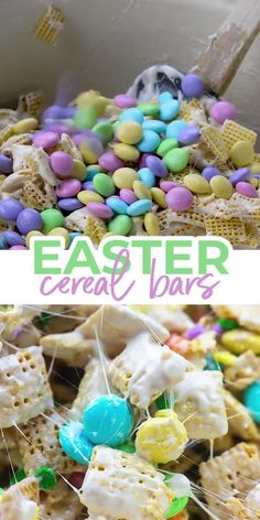Apr 2020 - Easy and fun for the kids to help make! These Easter Cereal Bars are full of Chex cereal, marshmallows, and Easter candy. Easter Snacks, Easter Candy, Easter Treats, Easter Recipes, Spring Recipes, Chex Cereal, Cereal Bars, Ooey Gooey Bars, Kid Desserts
