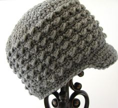 Baby Crochet Hat Little Boy Beanie Gray Newborn Newsboy Cap Small 6 to 12 months MADE TO ORDER Children Clothing Autumn Fall Kids Fashion. $20.00, via Etsy.