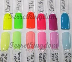 gelish neon colours w/white on top