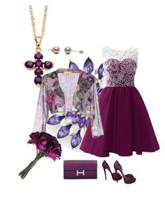 """Plum pretty"" by barb-seitz-ritchings on Polyvore featuring beauty, Kim Rogers, Christian Louboutin, Palm Beach Jewelry, EAN 13 and Hermès"