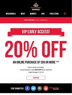 VIP, get early access to 20% off online - Foot Locker
