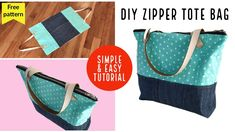 DIY ZIPPER TOTE BAG/FREE BAG PATTERN /SEWING BAG TUTORIAL/FOR BEGINNER/coubdre un sac/เย็บกระเป๋าผ้า - YouTube Denim Bag Patterns, Bag Patterns To Sew, Sewing Patterns, Sewing Tutorials, Tote Tutorial, Denim Tote Bags, Creations, Ideas, Fun Projects