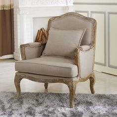 Baxton Studio Constanza Classic Antiqued French Accent Chair | Overstock.com Shopping - The Best Deals on Living Room Chairs
