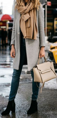cool outfit idea : grey cashmere coat + nude scarf + bag + jeans + boots