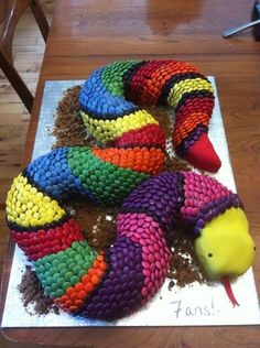 Awesome Snake Cake made with smarties. Click the pic for more smartie cakes.
