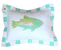Lemondaisy Design Beach Art & Gifts | Linen Pillows.  Adoralble Turquoise Linen Fish Pillow.  Perfect for the guest room or nursery.