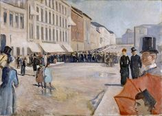 Military Band in Oslo 1889 Canvas Art - Edvard Munch x Edvard Munch, Oslo, Oil On Canvas, Canvas Art, National Art Museum, Street Painting, Post Impressionism, Oil Painting Reproductions, Online Painting
