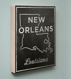New Orleans Chalkboard Print Wood Art