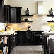 Image result for black kitchen cabinets