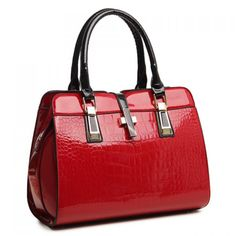 Wholesale Stunning Patent Leather and Crocodile Print Design Women's Tote Bag Only $11.52 Drop Shipping   TrendsGal.com