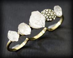 RAW HERKIMER DIAMOND Triple Ring - Aged Bronze Size 8/9/8