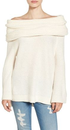 Sun & Shadow Cream Cowl Off the Shoulder Sweater.  Perfect fall sweater for snuggling!  (aff)