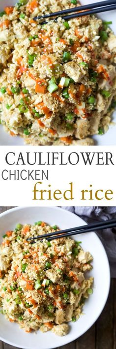 Easy 15 Minute Cauliflower Chicken Fried Rice that's way better than takeout and tons healthier for you, clocking in at a whopping 205 calories a serving! PS you're kids will never know its cauliflower not rice! | joyfulhealthyeats.com
