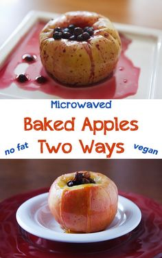 Microwave Baked Apples Two Ways You can make an easy, no-fat, vegan dessert in minutes in your microwave using apples and your choice of blueberries or raisins as filling. Microwave Baked Apples, Baked Apples Healthy, Microwave Baking, Microwave Recipes, Quick Apple Dessert, Apple Dessert Recipes, Vegan Desserts, Whole Food Recipes, Delicious Desserts