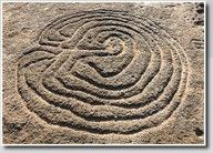 Prehistoric labyrinth petroglyph  India