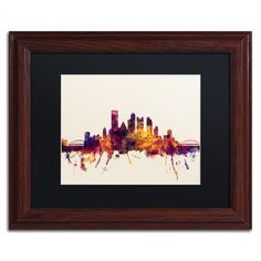 Michael Tompsett 'Pittsburgh Skyline IV' Matte, Wood Framed Wall Art