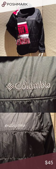 Columbia - Black Puffer Coat Great condition. This is a Men's medium and easily fits a women as well. I have a lot of this type of coat so it has only been worn a few times. It is fully lined and has pockets throughout. Pictures is a special pocket at top on the inside for your smartphone or music playing device. Columbia Jackets & Coats Puffers