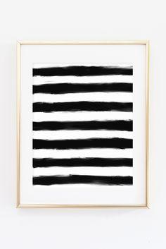 Black and White Paint Stripes Hand Drawn Printable Print