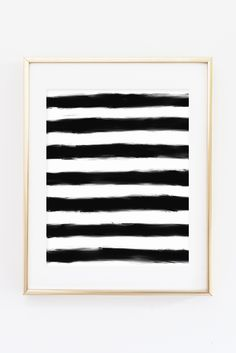 Black and White Paint Stripes Hand Drawn Printable Print