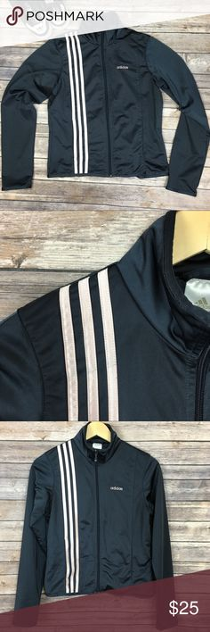"Adidas Zip Up Track Jacket Signature 3 Stripes Adidas Zip Up Track Jacket dark gray with pink Signature 3 Stripes.  Approximate measurements  Armpit-Armpit: 18"" Length: 21"" Fabric: 100% Polyester   Very Minor pilling in small area on left elbow. Please refer to photos as they provide the best description. No trades. Offers excepted. Adidas Jackets & Coats"