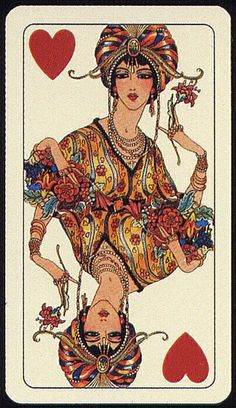Art Deco Queen of Hearts playing card Hearts Playing Cards, Playing Cards Art, Vintage Playing Cards, Vintage Cards, Illustrations, Illustration Art, Art Quotidien, Pokerface, Art Graphique