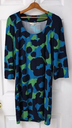 Womens BODEN Everyday Jersey Dress 3/4 Sleeve Blue Green Cotton Size US 4 UK8 #Boden
