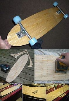 nice homemade skateboard. love the wood - its popsicle sticks